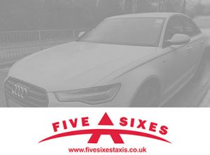 White Audi Vehicle of Five Sixes Taxis in Camberley