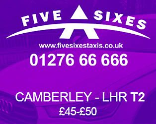 Camberley to Heathrow Airport Terminal 2 Taxi Discount offer by Five Sixes Taxis